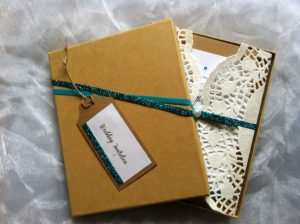 Boxed Invitations with Turquoise Accemt