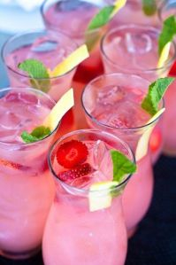 A fabulous alternative to a cup of tea on a hot day - a vibrant pink cocktail