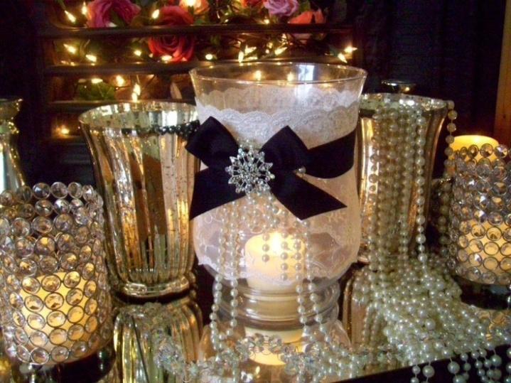 Pearls and diamante centrepiece