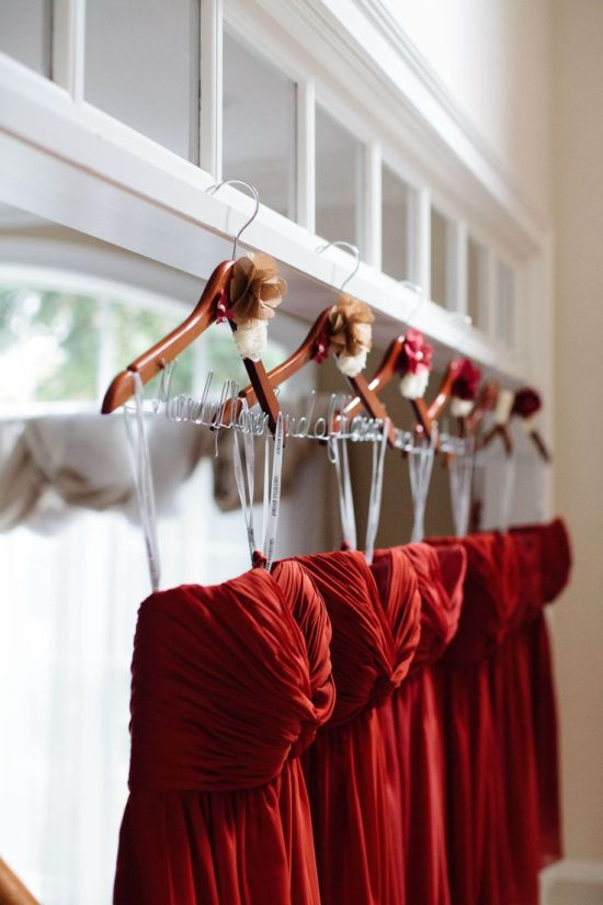 Rich ruby red bridesmaids dresses