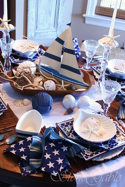Nautical sailboat centrepiece