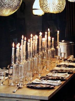 Wine bottle candle centrepiece