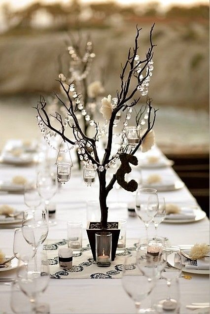 Black manzanita tree centrepiece crystal garland