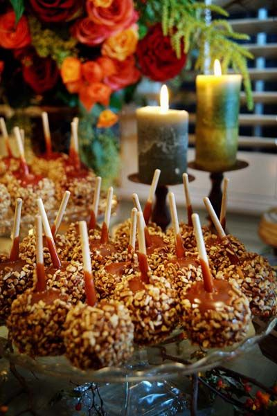 Fall Wedding candy apples