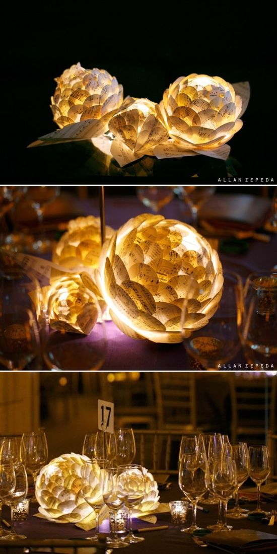 Paper LED Roses Centrepiece