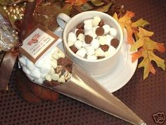 Hot chocolate favours autumn wedding