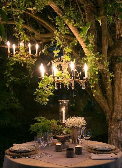 Woodland wedding outdoor chandelier