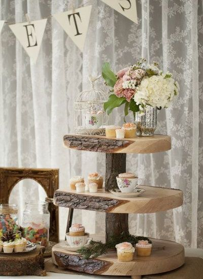Woodland wedding cake stand vintage