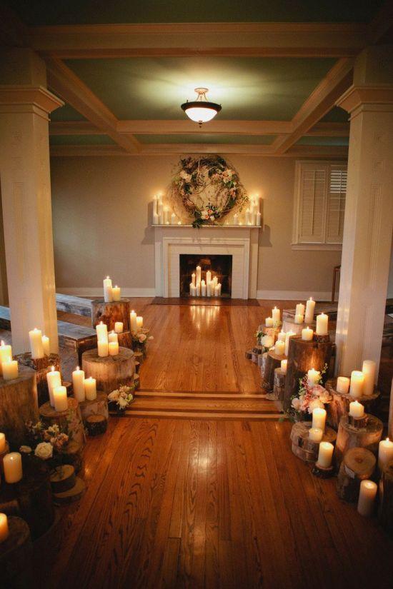 Woodland wedding ceremony candles