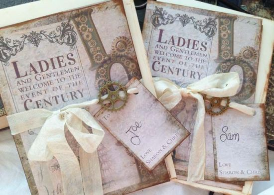 Steampunk wedding stationery