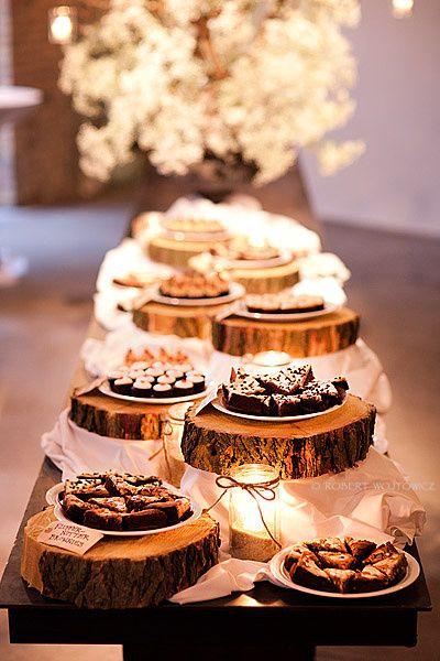Woodland wedding cake stand dessert buffet