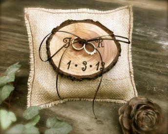 Woodland wedding ring bearer pillow