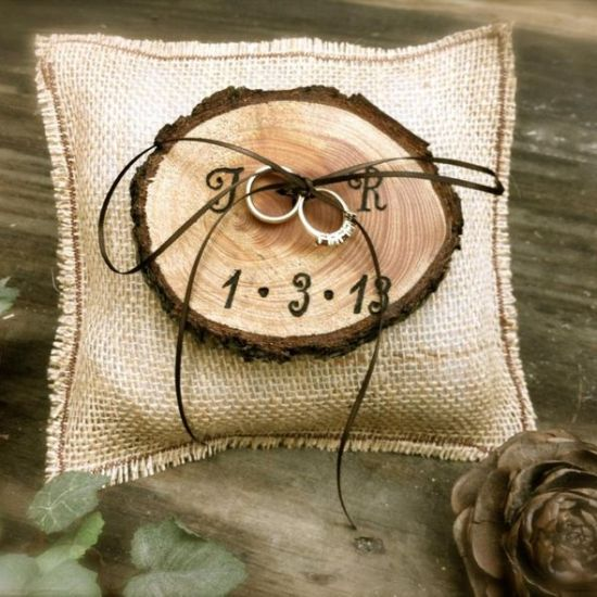 Woodland wedding ring bearer pillow