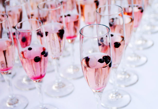Pink champagne wedding cocktail