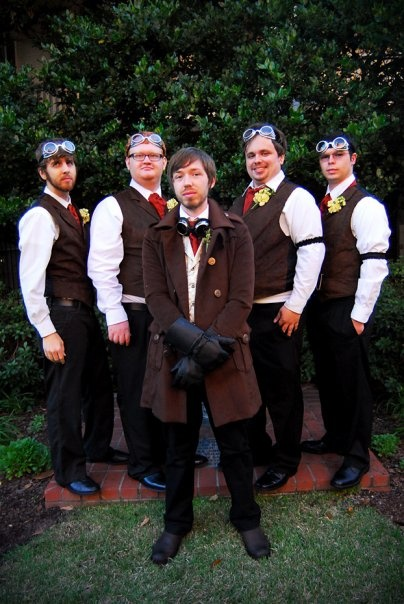 Steampunk groom and groomsmen