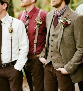 Groom tweed suits winter wedding
