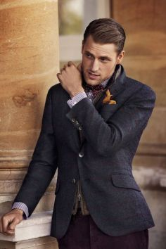 Hackett menswear tweed suit