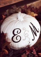Painted pumpkin with initials for Halloween wedding