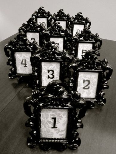 Black gothic table numbers