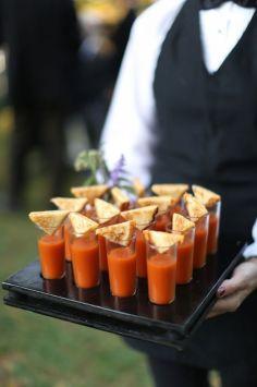 Winter wedding food ideas soup shots and toasties