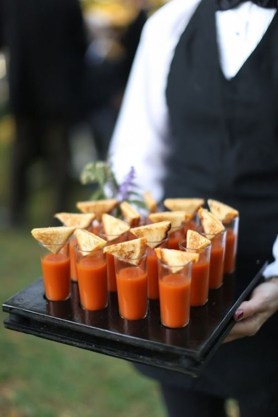 Winter wedding food ideas soup shots and toasties