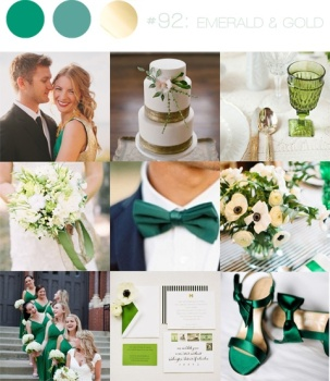 Emerald winter wedding colour scheme