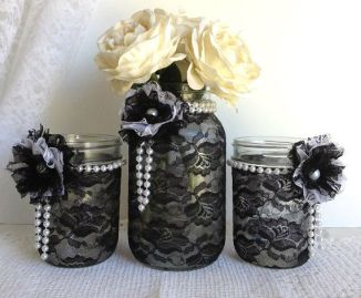 Black lace mason jar centrepieces