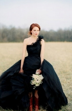 Romantic black wedding dress