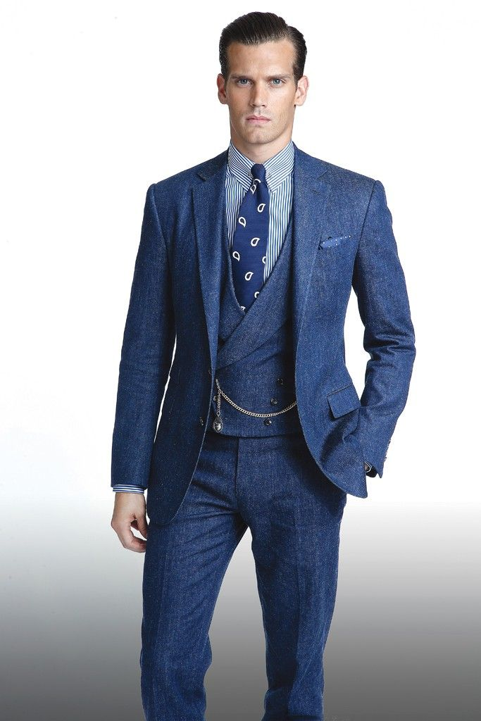 Ralph Lauren denim suit groomswear