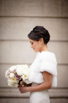 Winter wedding fur shrug