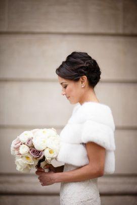 Winter wedding fur shrug