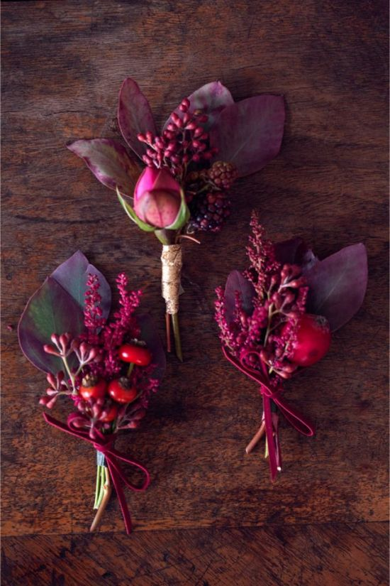 Berry boutonniere buttonhole winter wedding