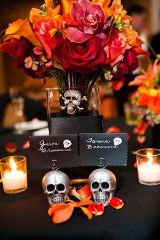 Halloween theme wedding escort cards