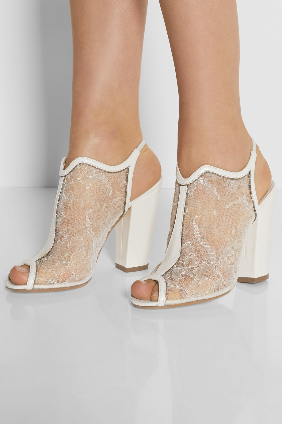 Nicholas Kirkwood White Leather Lace and Glitter Sandals bridal shoe couture designer