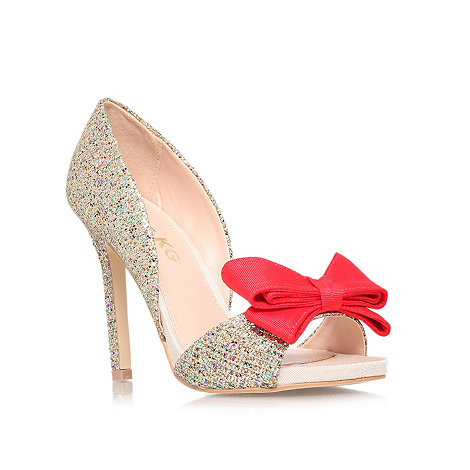 Miss KG Gabriella high heel shoes, pink bow and sparkle bridal shoes