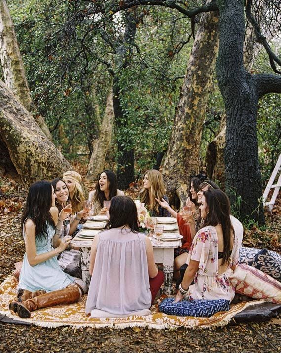 Boho bachelorette party picnic