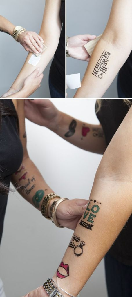 DIY rub on tattoos for hen bachelorette party