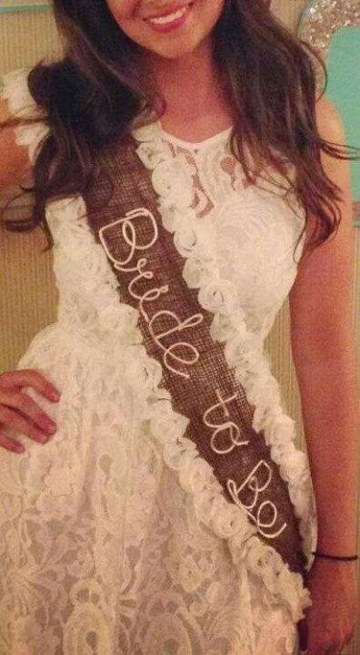 DIY rustic burlap bride to be sash