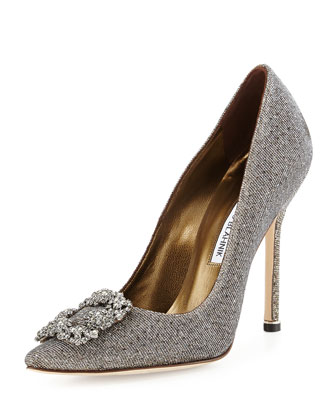 Manolo Blahnik Hangisi Metallic Crystal Shoe bridal shoe