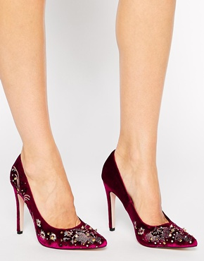Berry velvet high heels ASOS bridal