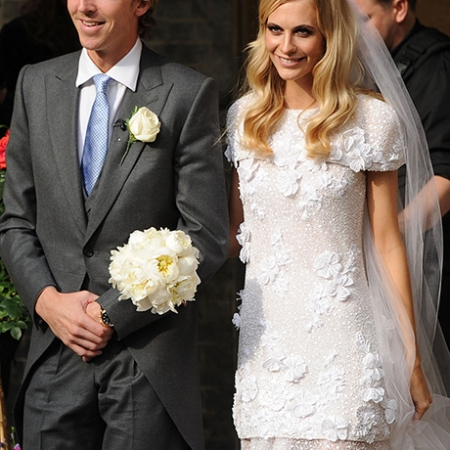 Poppy Delevigne wedding dress Chanel