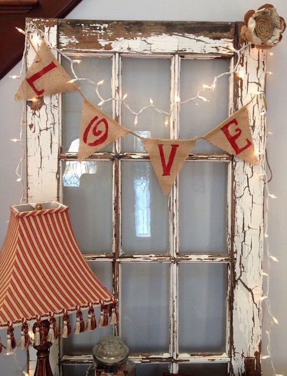 Love Burlap Bunting Sign wedding valentine