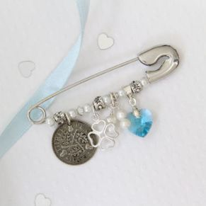 Something blue bridal brooch not on the high street