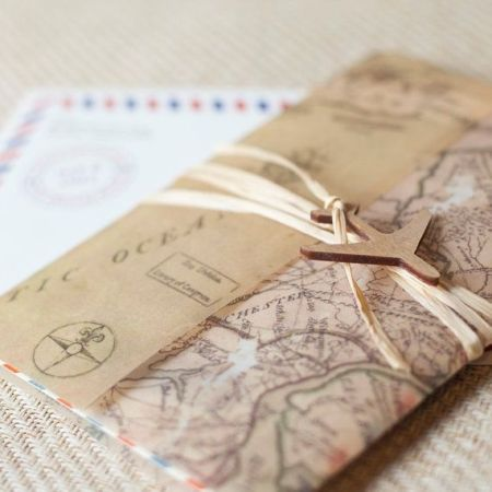 travel themed wedding invitation overseas guests