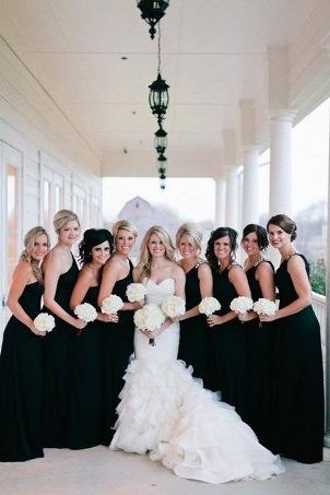 Monochrome wedding ideas black bridesmaid dress