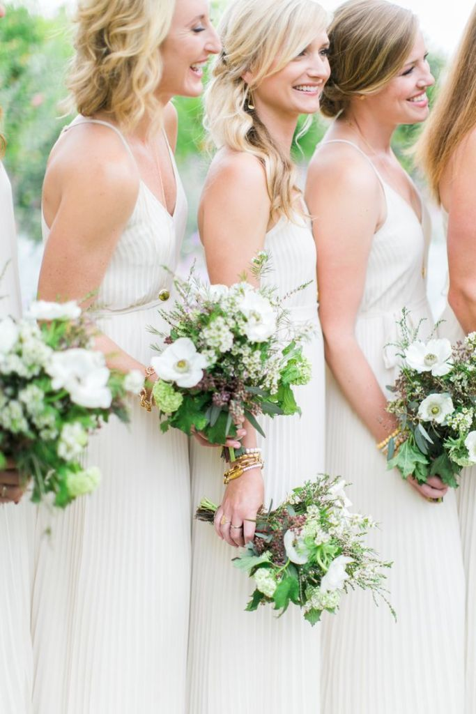Monochrome wedding ideas white bridesmaid dress