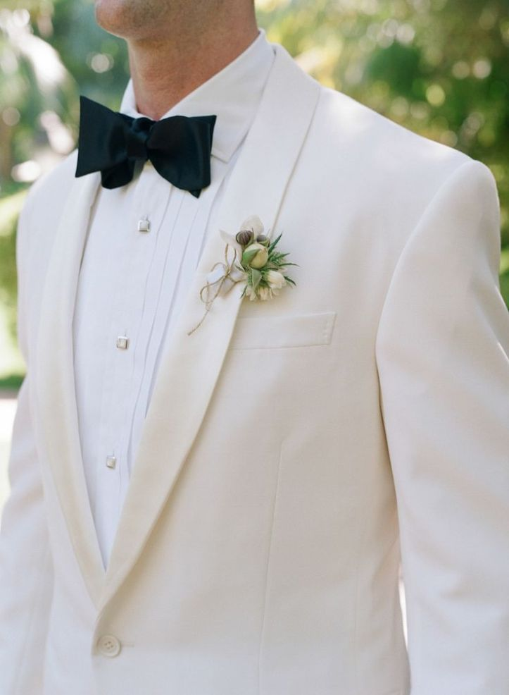Monochrome wedding ideas white cream tuxedo groom