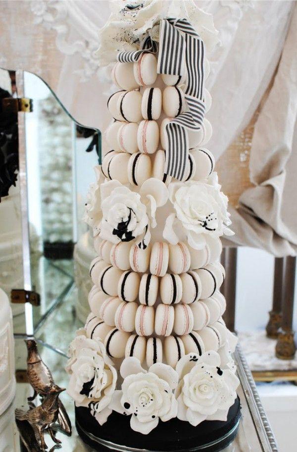 Monochrome wedding ideas wedding cake macarons