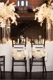 Monochrome wedding ideas table decor black and white black chiavari chairs