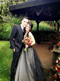 Monochrome wedding ideas black bridal gown shanae grimes